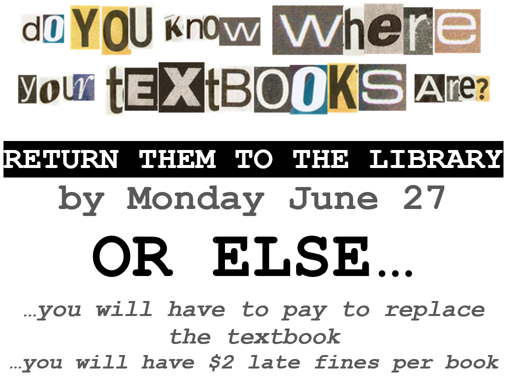 do you know where your textbooks are - June